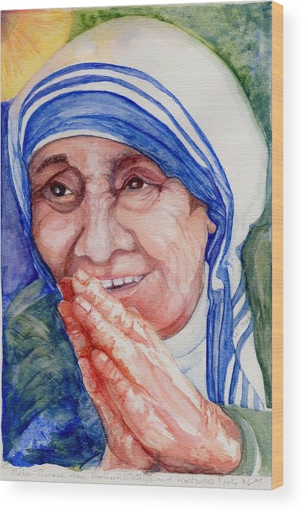 Elle Fagan Wood Print featuring the painting Mother Teresa by Elle Smith Fagan