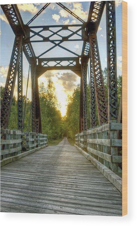 Water Wood Print featuring the photograph Munger Trail Bridge by Bryan Benson