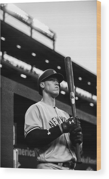People Wood Print featuring the photograph New York Yankees v Baltimore Orioles by Rob Tringali/Sportschrome