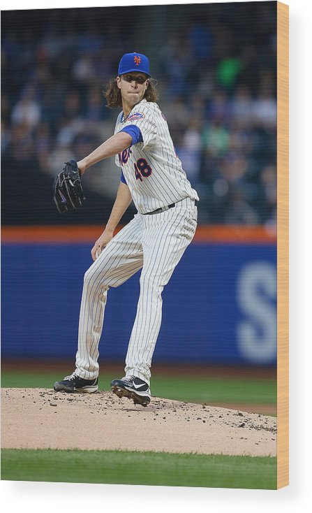 Jacob Degrom Wood Print featuring the photograph New York Yankees V New York Mets by Mike Stobe