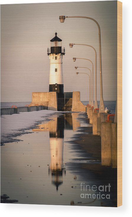 Duluth Wood Print featuring the photograph North Pier Sunset Melt by Ever-Curious Photography