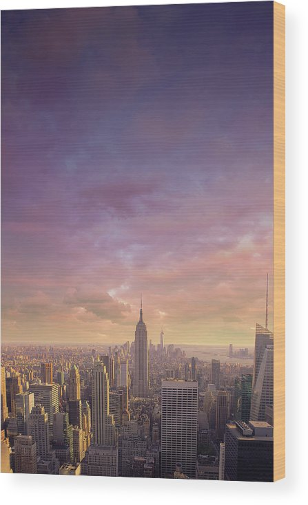 Lower Manhattan Wood Print featuring the photograph Nyc At Sunset by Bluberries