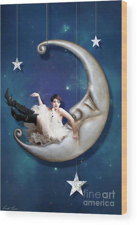 Moon Wood Print featuring the digital art Paper Moon by Linda Lees
