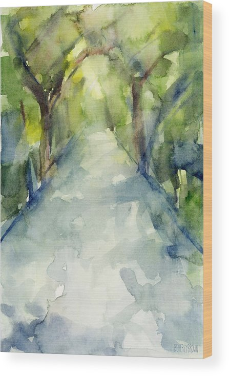 Garden Wood Print featuring the painting Path Conservatory Garden Central Park Watercolor Painting by Beverly Brown