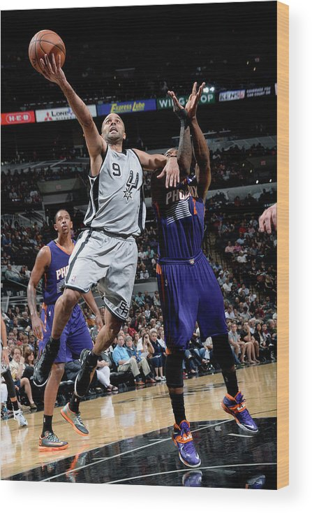 Nba Pro Basketball Wood Print featuring the photograph Phoenix Suns V San Antonio Spurs by D. Clarke Evans
