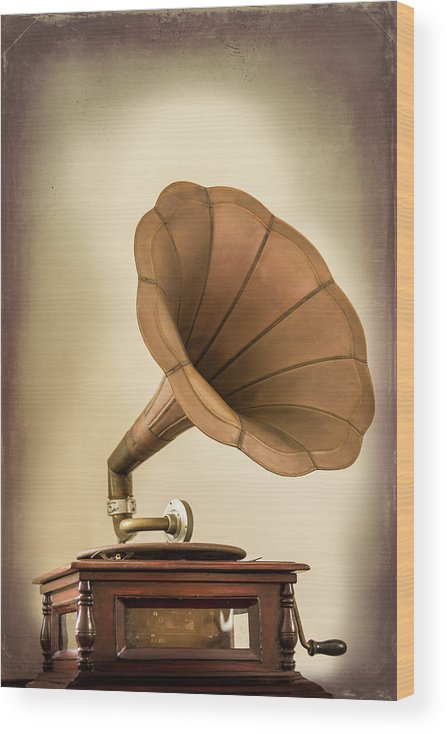 Music Wood Print featuring the photograph Phonograph Record Player by Gary S Chapman