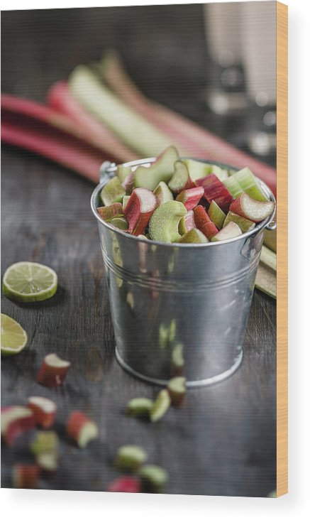 Bucket Wood Print featuring the photograph Pieces Of Rhubarb In Metal Bucket And by Westend61