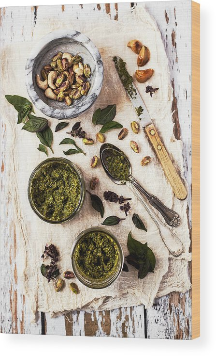 San Francisco Wood Print featuring the photograph Pistachio Pesto With Mortar, Jars And by One Girl In The Kitchen