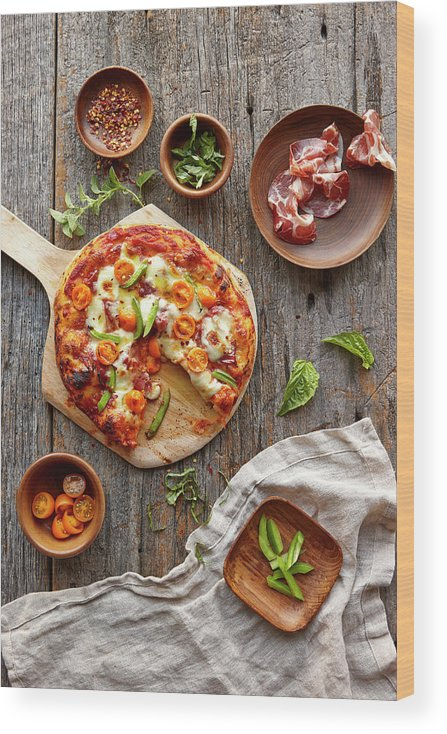 Parma Ham Wood Print featuring the photograph Pizza by Lew Robertson
