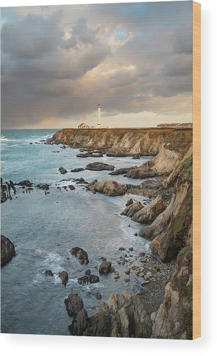 Headland Wood Print featuring the photograph Point Arena Headland And Lighthouse by Kjschoen