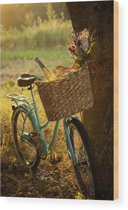 Grass Wood Print featuring the photograph Retro Bicycle With Wine In Picnic by Nightanddayimages