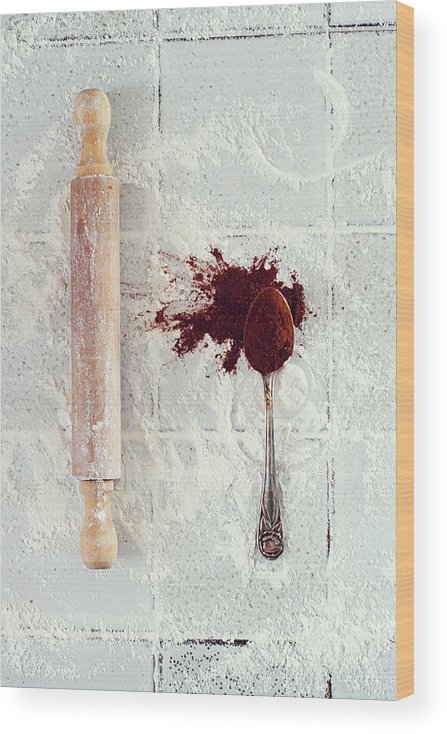 Rolling Pin Wood Print featuring the photograph Rolling Pin, Teaspoon, Flour And Cocoa by One Girl In The Kitchen