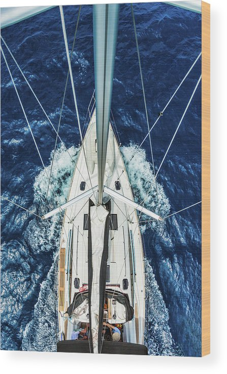 Adriatic Sea Wood Print featuring the photograph Sailboat From Above by Mbbirdy