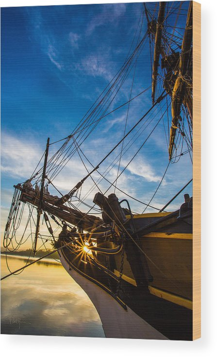 Tall Ship Wood Print featuring the photograph Sailboat Sunrise by Robert Bynum