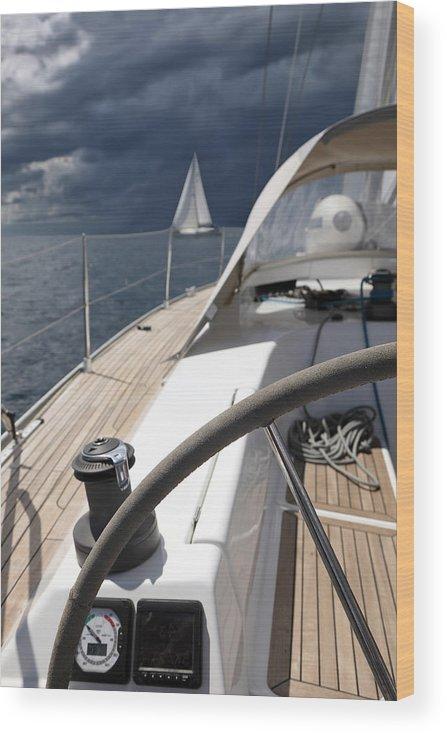 Adriatic Sea Wood Print featuring the photograph Sailboats In Mediterranean Sea by Vuk8691