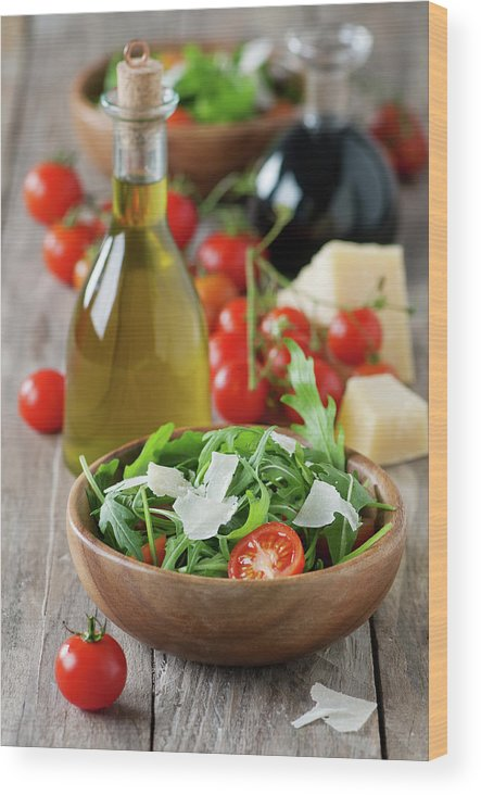 Cheese Wood Print featuring the photograph Salad With Arugula by Oxana Denezhkina