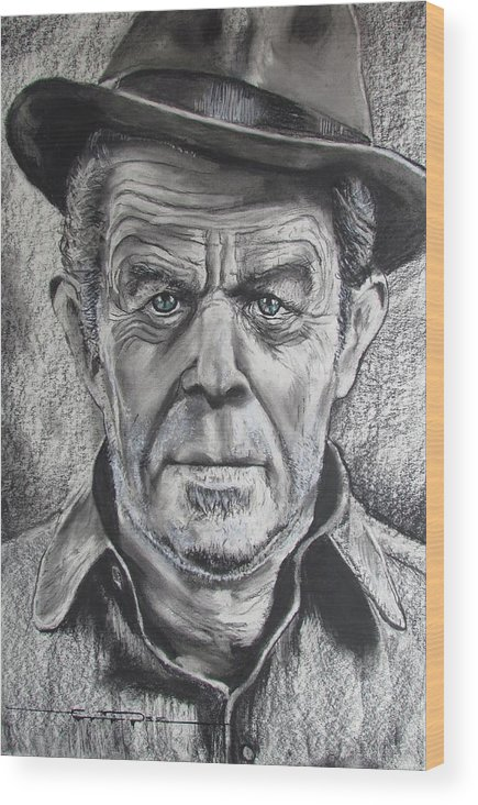 Tom Waits Wood Print featuring the drawing Small Change for Tom Waits by Eric Dee
