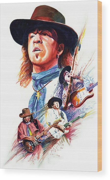 Guitarists Wood Print featuring the painting Stevie Ray Vaughn by Ken Meyer jr
