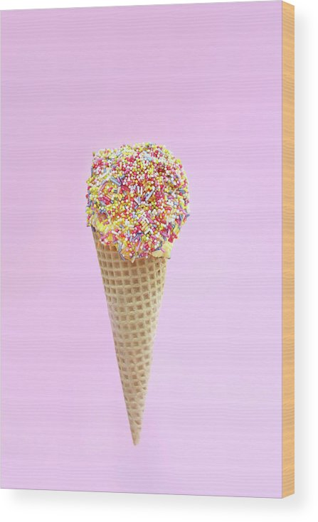 Sprinkling Wood Print featuring the photograph Summer Ice Cream With Sugar Sprinkles by Kelly Bowden