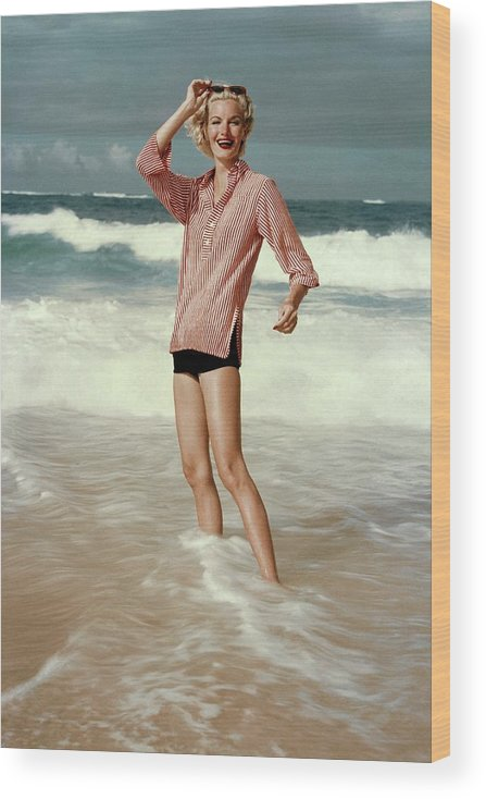 Accessories Wood Print featuring the photograph Sunny Harnett On A Beach by Leombruno-Bodi