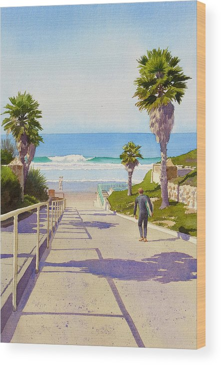 Surfer Wood Print featuring the painting Surfer Dude at Fletcher Cove by Mary Helmreich