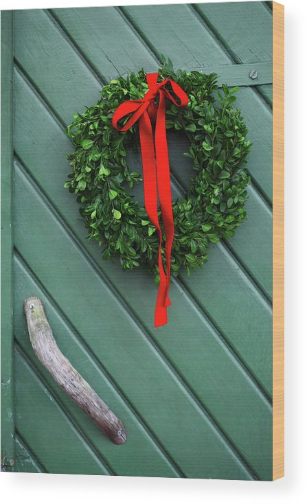 Hanging Wood Print featuring the photograph Sweden, Vastergotland, Christmas Wreath by Mattias Nilsson/folio Images