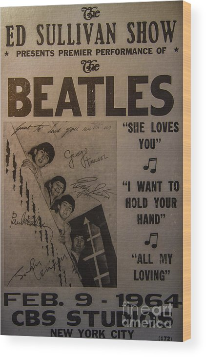 The Beatles Ed Sullivan Show Poster Wood Print featuring the photograph The Beatles Ed Sullivan Show Poster by Mitch Shindelbower