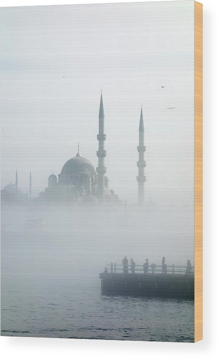 Istanbul Wood Print featuring the photograph The Galata Bridge Leads Across Golden by Jazzirt