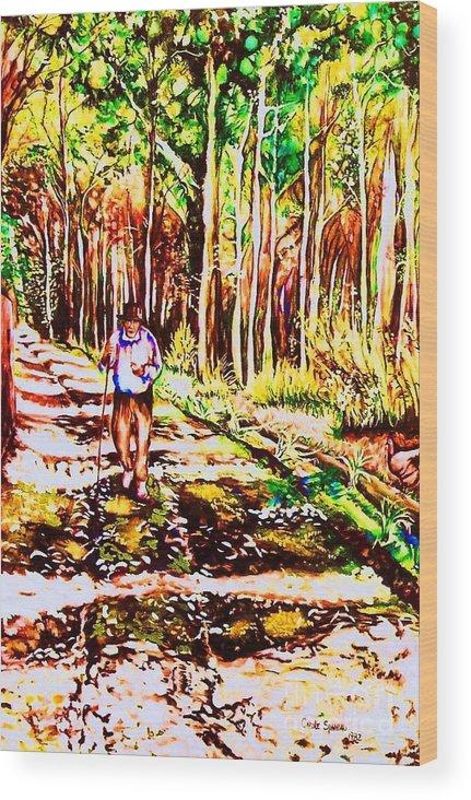 The Road Not Taken Robert Frost Poem Wood Print featuring the painting The Road Not Taken by Carole Spandau