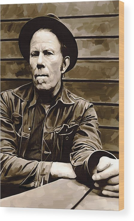 Tom Waits Paintings Wood Print featuring the painting Tom Waits Artwork 2 by Sheraz A