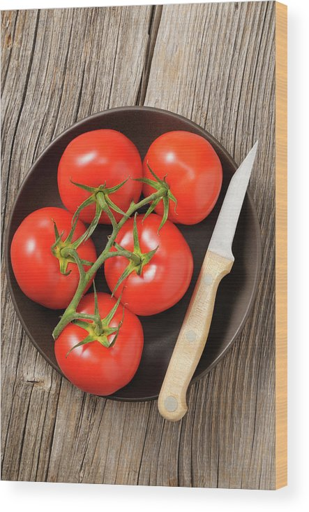 Kitchen Knife Wood Print featuring the photograph Tomato by Riou