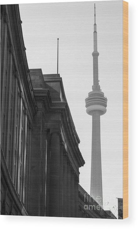 Toronto Wood Print featuring the photograph Toronto CN Tower by Matt Trimble