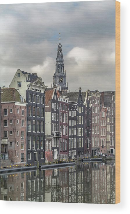 In A Row Wood Print featuring the photograph Traditional Dutch Houses Over A Canal by Buena Vista Images
