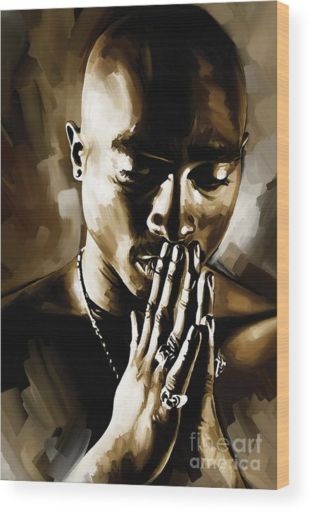 Tupac Shakur Paintings Wood Print featuring the painting Tupac Shakur Artwork by Sheraz A