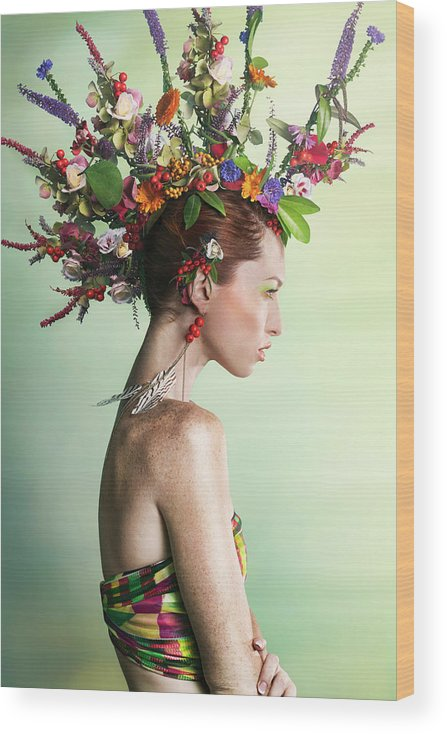 Art Wood Print featuring the photograph Woman Wearing A Colorful Floral Mohawk by Paper Boat Creative