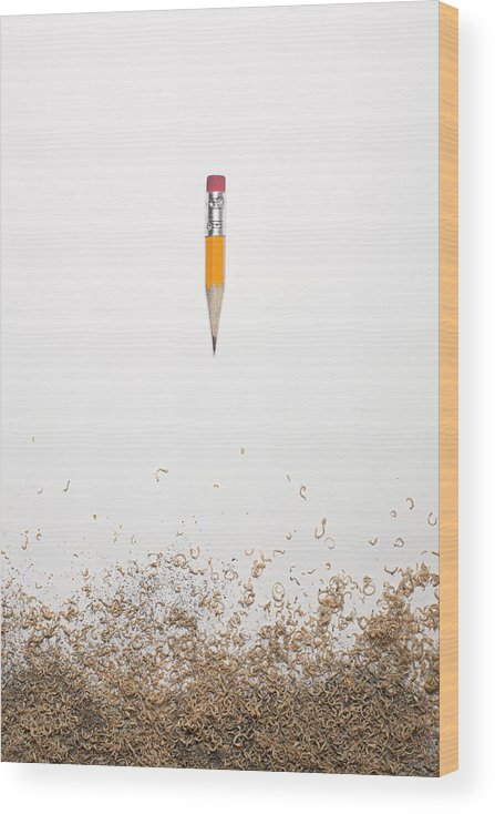 White Background Wood Print featuring the photograph Worn Down Pencil With Shaving by Chris Parsons