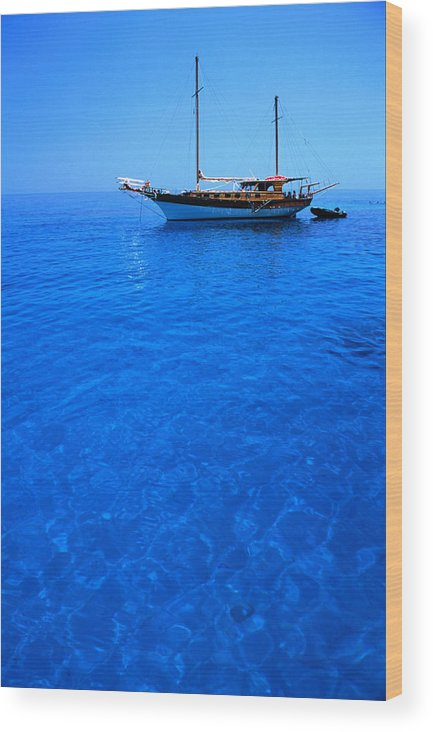 Freight Transportation Wood Print featuring the photograph Yacht Anchored In The Spectacular by Dallas Stribley