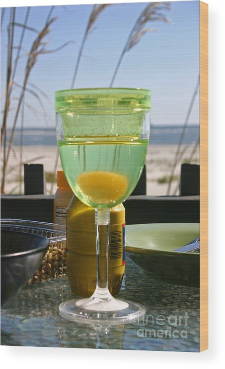 Beach Wood Print featuring the photograph Lunch on the Porch by Beebe Barksdale-Bruner