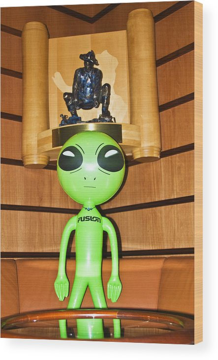 Alien Wood Print featuring the photograph Alien in the Corner Booth by Richard Henne