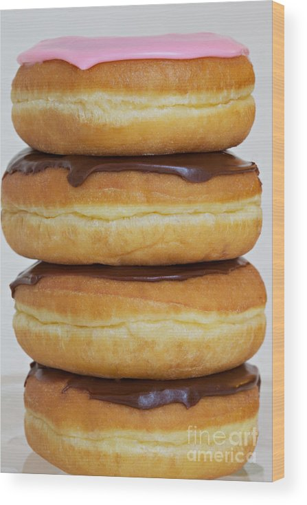 Donuts Wood Print featuring the photograph Chocolate Chocolate Chocolate Pink by Kim Fearheiley