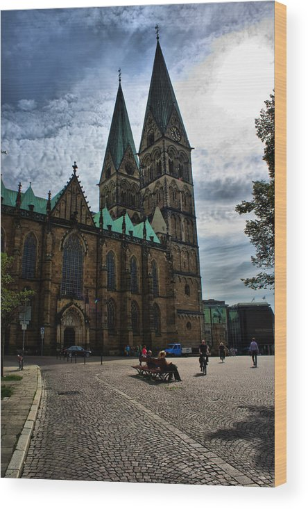 Bremen Wood Print featuring the photograph Church in Bremen Germany 2 by Edward Myers