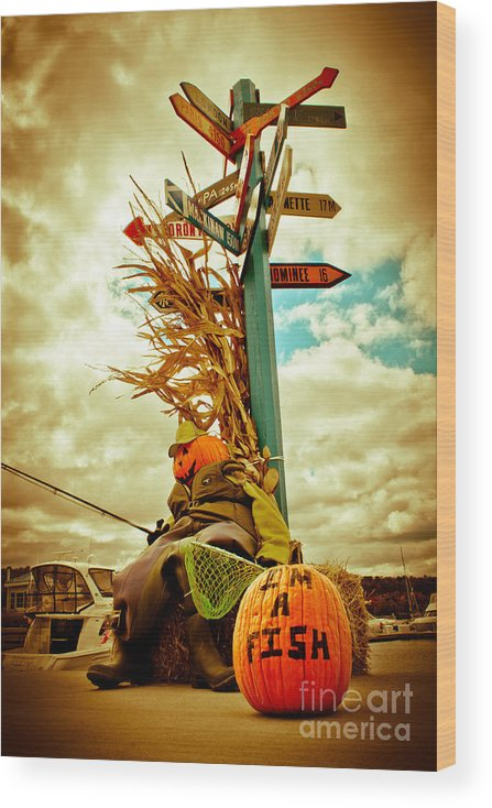 Door County Wood Print featuring the photograph Jack O' Lantern Fishing Off Egg Harbor Marina by Ever-Curious Photography