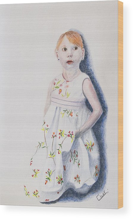 Characterization Wood Print featuring the drawing Little Angel by Wade Clark