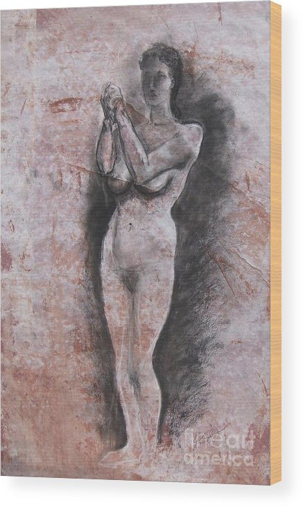 Model Wood Print featuring the drawing Mirage by Julianna Ziegler