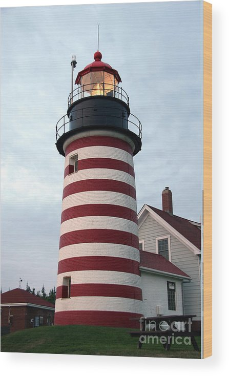West Quoddy Head Light Wood Print featuring the photograph West Quoddy Lighthouse by Brenda Giasson