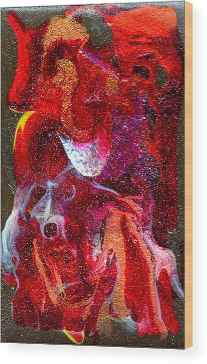 Abstract Wood Print featuring the painting Abstract - Rebirth Series 006 by Dina Sierra