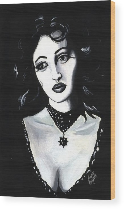 Monica Wood Print featuring the painting Monica by Scarlett Royal