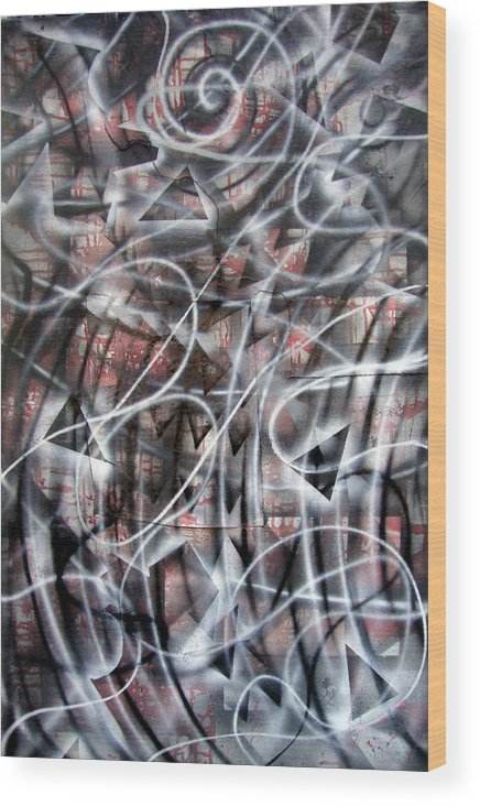 Abstract Wood Print featuring the painting 2011 by Leigh Odom