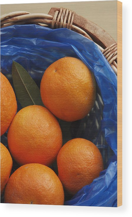 Crete Wood Print featuring the photograph A Basket of Oranges by Steve Outram