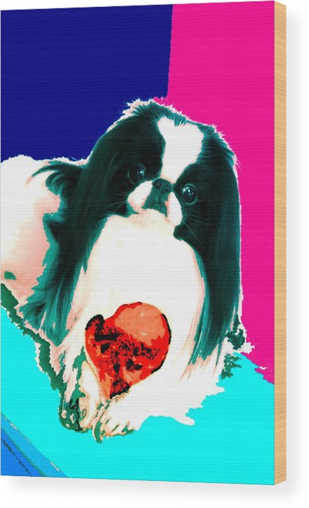 A Japanese Chin And His Toy Wood Print featuring the digital art A Japanese Chin and His Toy by Kathleen Sepulveda